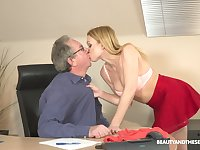 Filthy young blond assistant Rebecca Black gets intimate with her old boss