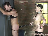 Candy Monroe plays with her male slave in pretty rough modes