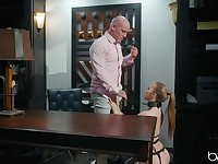Hairless dude doing exactly what  Lena Paul needs for an orgasm