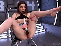 Rough toy porn and fucking machine orgasms for the teen