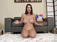 Curvy pornstar LaSirena69 with big tits talks in the backstage