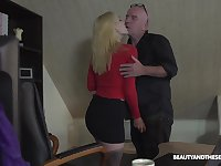 The CEO fucks his secretary after he catches her playing with herself