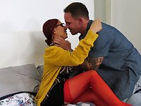 Red haired Latina MILF Claudia Fox emotionally rides strong cock
