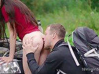 Sexy Russian brunette Arwen Gold is properly fucked by biker outdoors