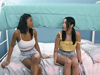 Ebony girl gets naughty with her roommate in lezzie XXX scenes