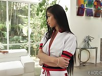 Moaning Asian chick with juicy ass Jade Kush keeps riding strong cock