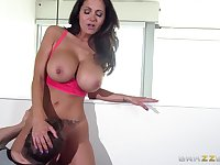 Big tits pornstar Ava Addams loves to be fucked by two guys