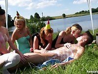 Outdoor fucking by the lake with dirty sluts that love to eat cum