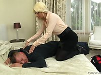 Blonde wife Yenna in clothes fucked by her horny next door neighbor