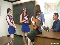 Naughty cheerleaders go topless and give handjobs to two guys