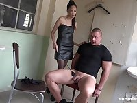 Sexy girl Ashley Ocean tied up and tortured a shy male slave