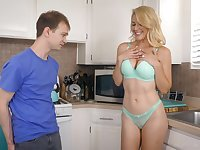 Super curvy blonde lady in turquoise lingerie is into sucking tasty cock