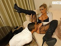 AMATEUREURO - Super Hot Mature Stepmom Seduces and Fucks Young Guy