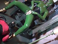 Extreme latex fetish lovers Madame Adore and Frejadottir drinking piss