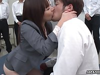 Naughty natural Japanese chick Asuka Kyono spreads legs to get hairy pussy banged