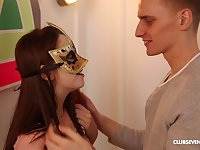 Smooth fucking with masked girlfriend ends with jizz on her pussy
