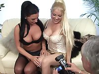 Threesome fucking with blonde Cindy Behr and sexy Kerry Louise