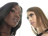 Hot interracial lesbian video featuring seductive white babe Jill Kassidy