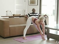 Bailey Brooke's white leggings are ripped during interracial love affair