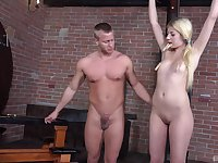 Submissive blonde youngster learns the art of bondage play