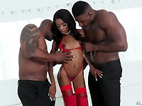 DP smashing for ebony harlot Chanel Skye and two hung black bucks