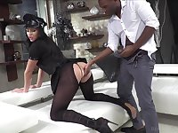 Classy whore in ripped pantyhose and police uniform Carolina Vogue is fucked by two clients
