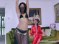 Erotic glamour model Sahara Knite loves to have lesbo sex with her friend