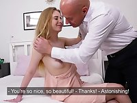 Old timer fucks 19-yo Russian virgin Irka Davalka