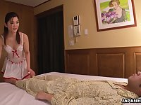 Cute Asian maid wakes her boss up for oral sex and that girl can suck