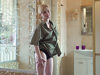 Young blonde Violetta V is playing with pussy in the shower