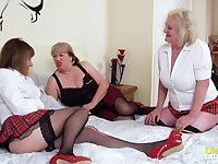 OldNannY Three Lesbian British Mature Porn Actresses