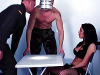 Perfect brunette fucked in the tight holes by two army men