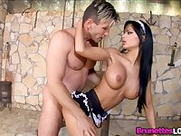 Hot Maid Black Angelika Gives the Boss What He Wants