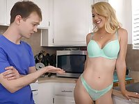 Kit Mercer with the perfect fake tits gives a BJ to a neighbor