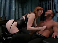 Hogtied submissive dude is brutally banged with strapon by Lauren Phillips