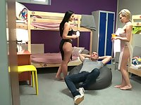 Addictive XXX dorm porn with two fine women