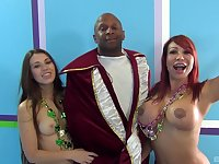Ava Devine and Tiffany Doll team up to pleasure one large black dick