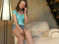 Totally horny chick in pink panties bends over to rub her clit just a bit