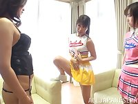 Charming Kaori Otonashi invited over her friends for lesbian sex