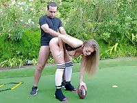 Football player Britney Amber gets fucked after an outdoor scrimmage
