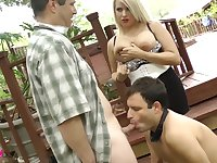 Bisexual husband sucking a dick with his busty wife Lacie James