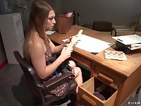 Babe fucks machine in coachs office