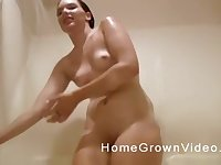 Two old guys enjoy fucking one natural tits girl on the bed