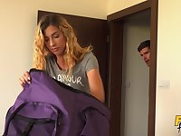 Cheating girlfriend takes a large dick from behind on the bed