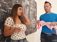 Ample breasted teen Ella Knox gives a blowjob and titjob to stepbrother's friends