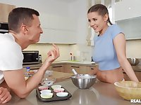 Charming girlfriend Sybil licked and fucked on the kitchen table