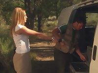 Outdoor fucking during camping with horny blonde Lauren Phoenix