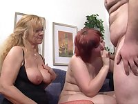 Chubby redhead wife shares her lover with a mature blonde lady