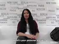 Barbora is a black haired woman who got fucked during a job interview and liked it