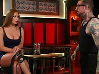 Tied up and suspended babe Skylar Snow gets double penetrated